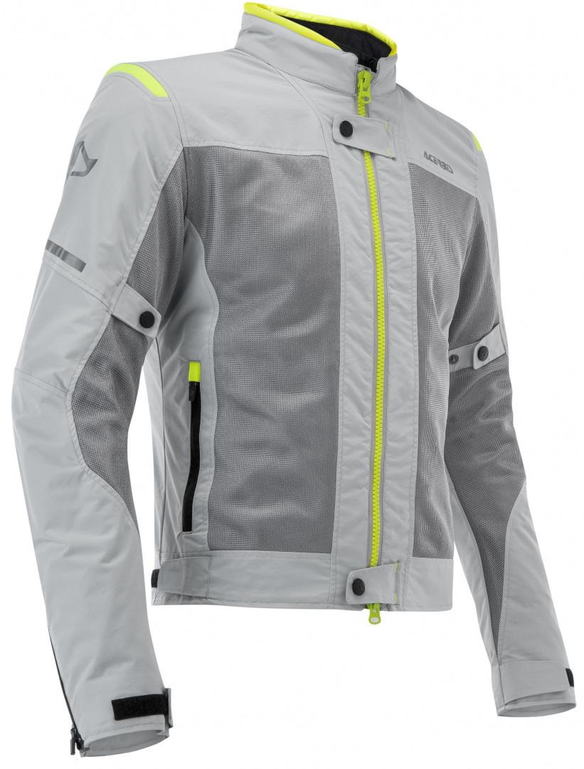 Acerbis Ramsey Vented Motorrad Textiljacke, grau-gelb, Größe L, grau-gelb, Größe L