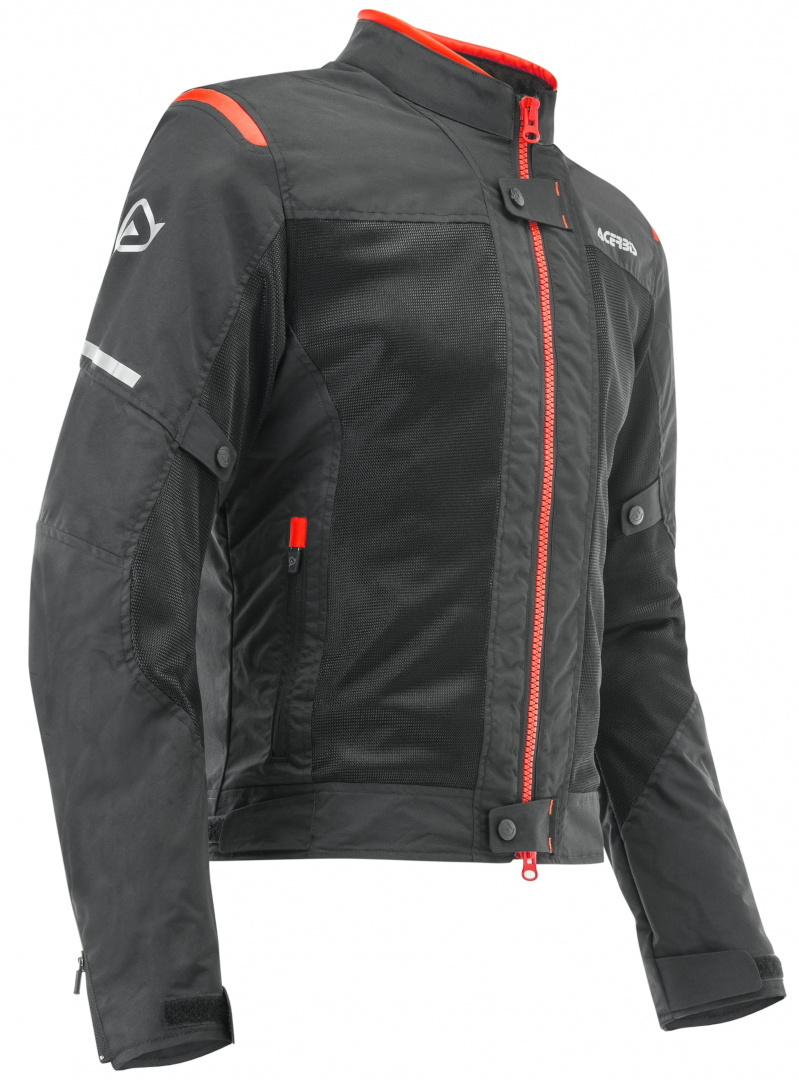 Acerbis Ramsey Vented Motorrad Textiljacke, schwarz-rot, Größe 2XL, schwarz-rot, Größe 2XL