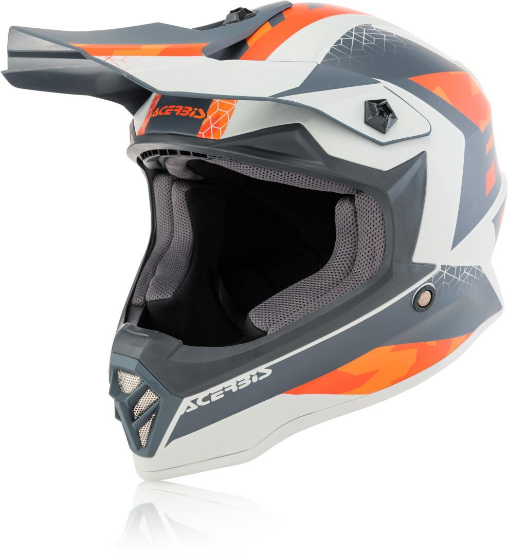 Acerbis Steel Junior Kinder Motocross Helm, grau-orange, Größe S, grau-orange, Größe S