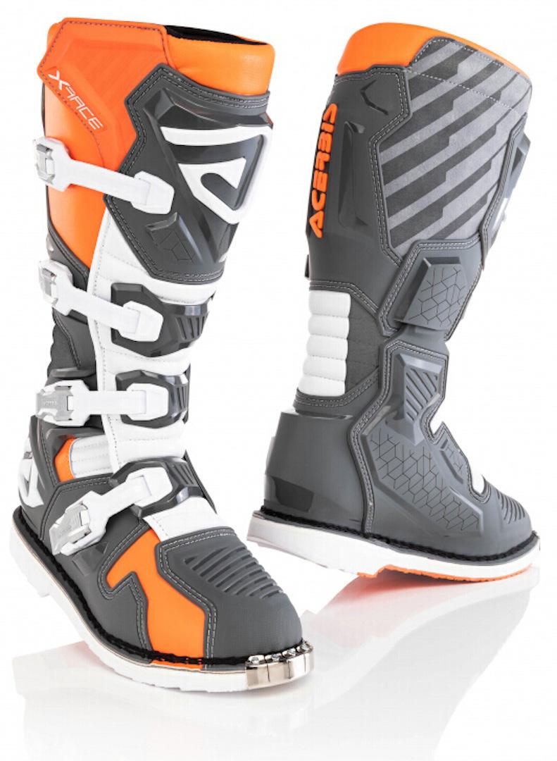 Acerbis X-Race Motocross Stiefel, grau-orange, Größe 44, grau-orange, Größe 44