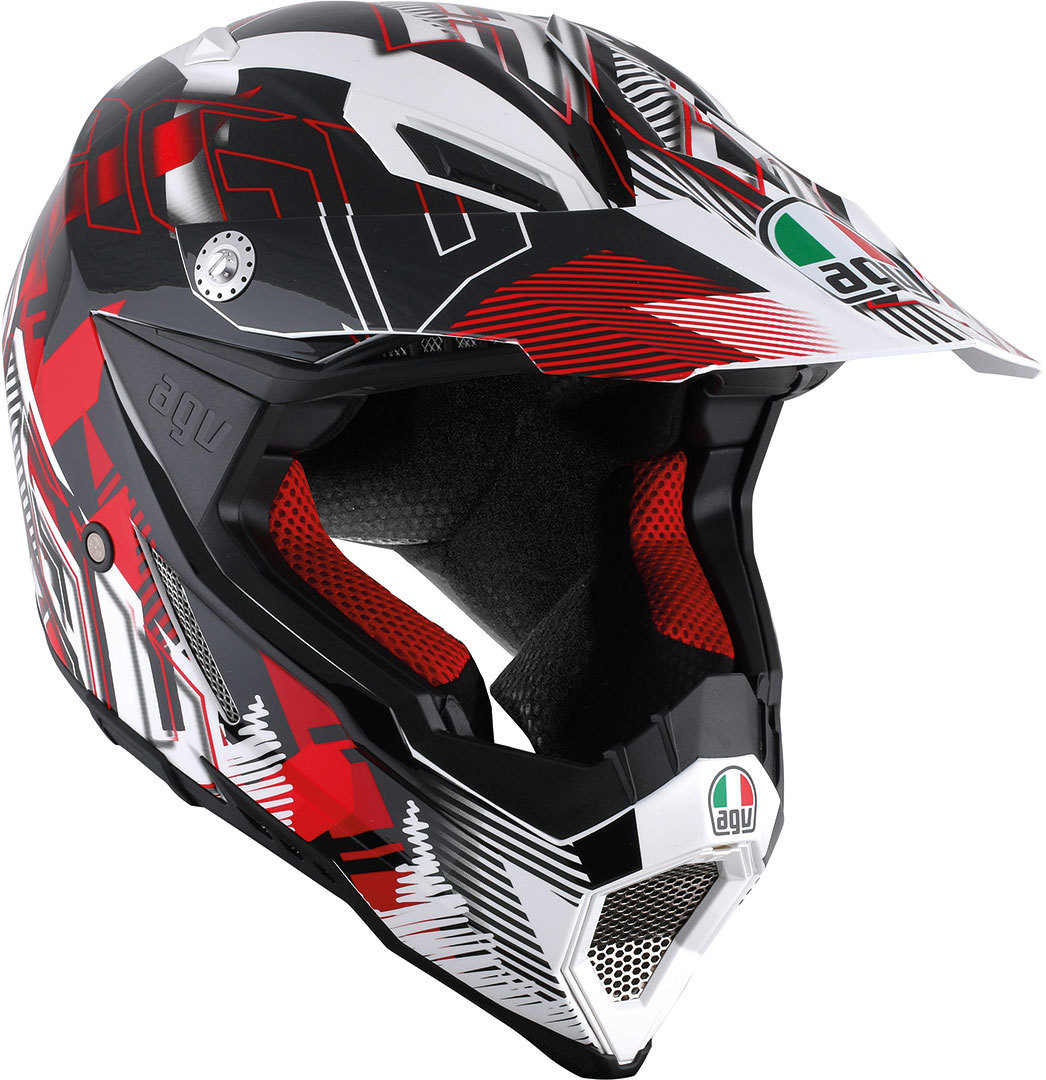 AGV AX-8 Evo Nofoot Offroad Helm, weiss-rot, Größe 2XS, weiss-rot, Größe 2XS