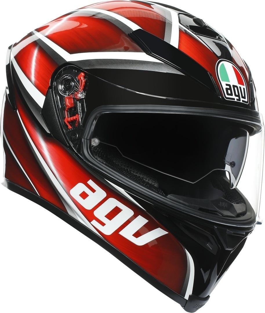 AGV K-5 S Tempest Helm, schwarz-rot, Größe XS, schwarz-rot, Größe XS