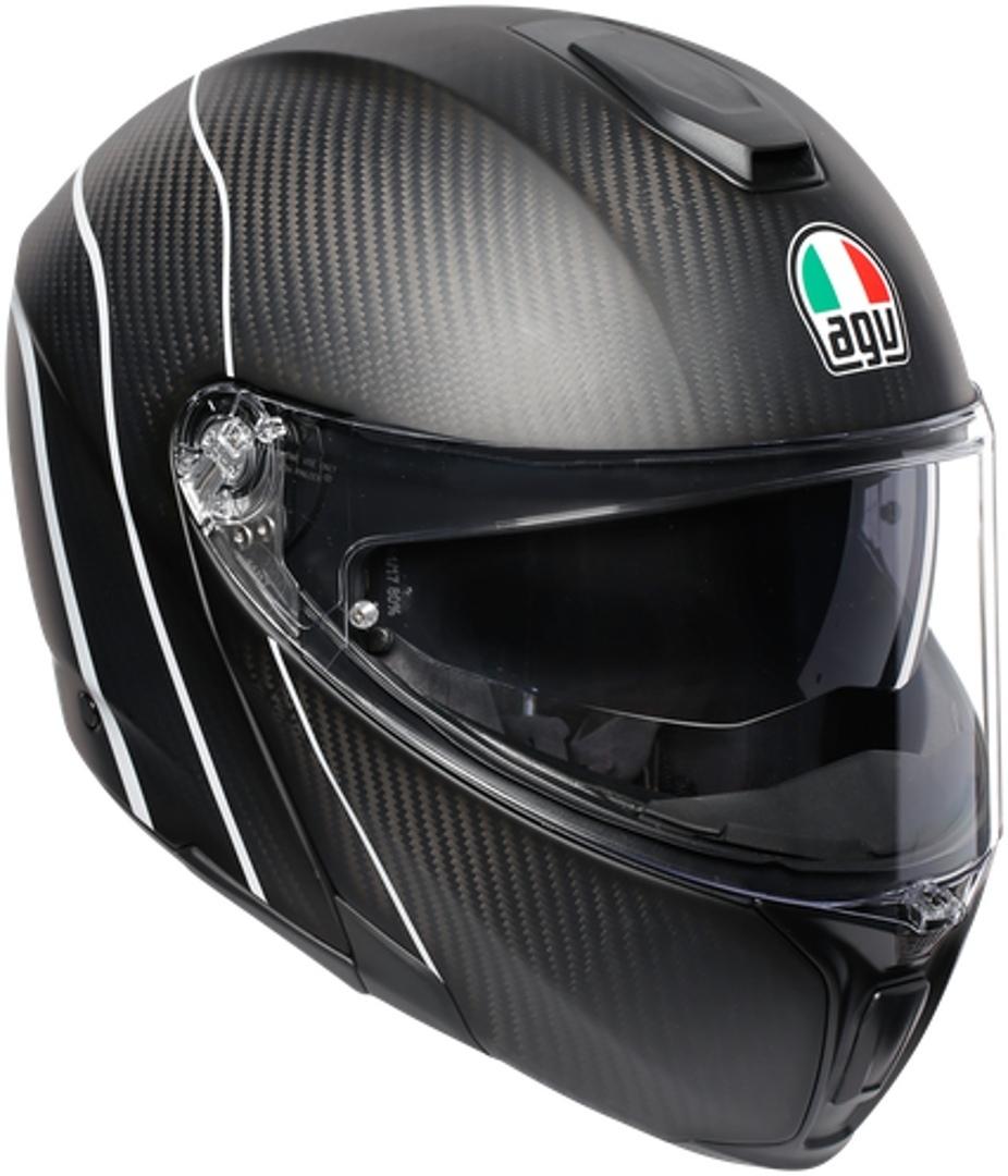 AGV Sportmodular PLK Refractive Carbon Klapphelm, schwarz-silber, Größe 2XL, schwarz-silber, Größe 2XL