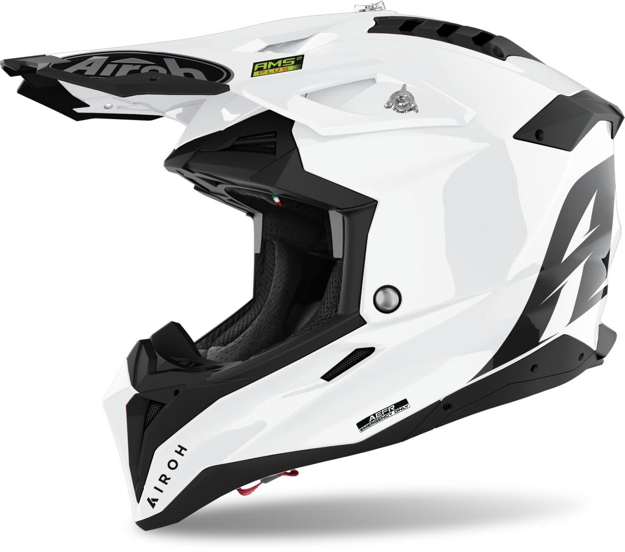 Airoh Aviator 3 Color Carbon Motocross Helm, weiss, Größe S, weiss, Größe S
