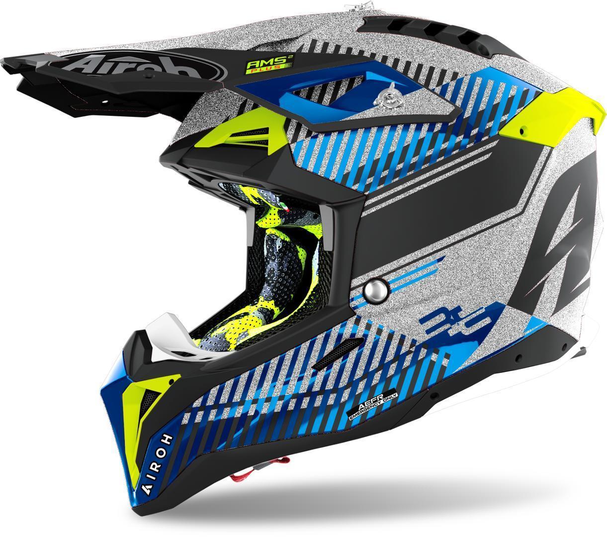 Airoh Aviator 3 Wave Carbon Motocross Helm, silber, Größe XL, silber, Größe XL