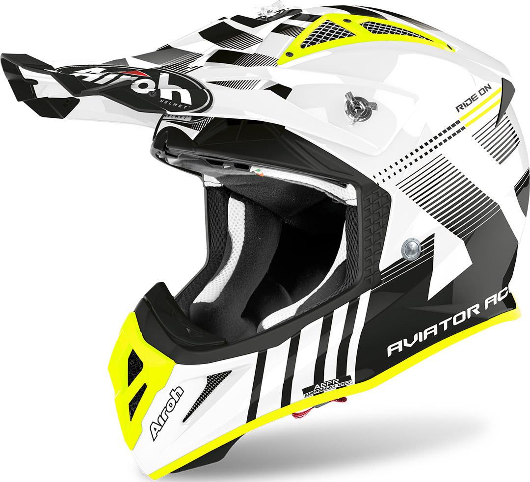 Airoh Aviator ACE Nemesi Motocross Helm, schwarz-weiss-gelb, Größe L, schwarz-weiss-gelb, Größe L