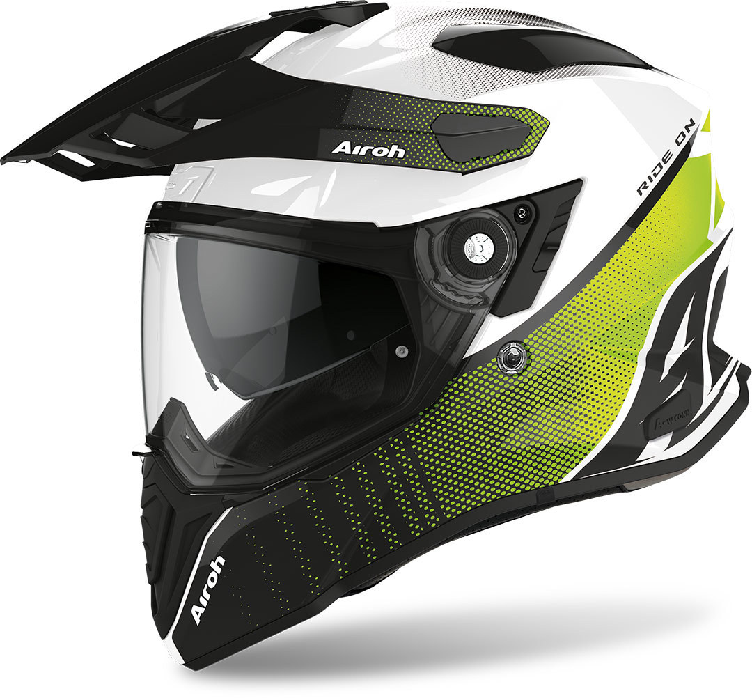 Airoh Commander Progress Motocross Helm, schwarz-weiss-gelb, Größe 2XL, schwarz-weiss-gelb, Größe 2XL