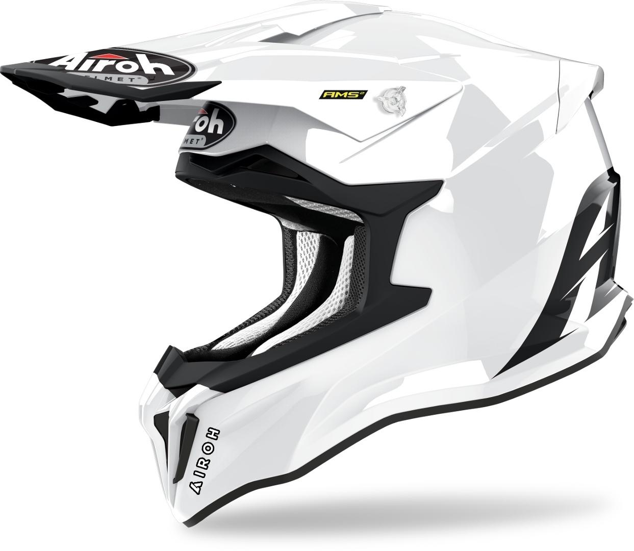 Airoh Strycker Color Carbon Motocross Helm, weiss, Größe M, weiss, Größe M
