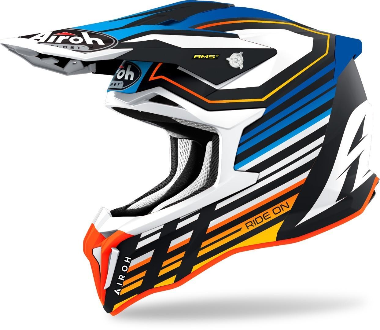 Airoh Strycker Shaded Carbon Motocross Helm, blau, Größe S, blau, Größe S