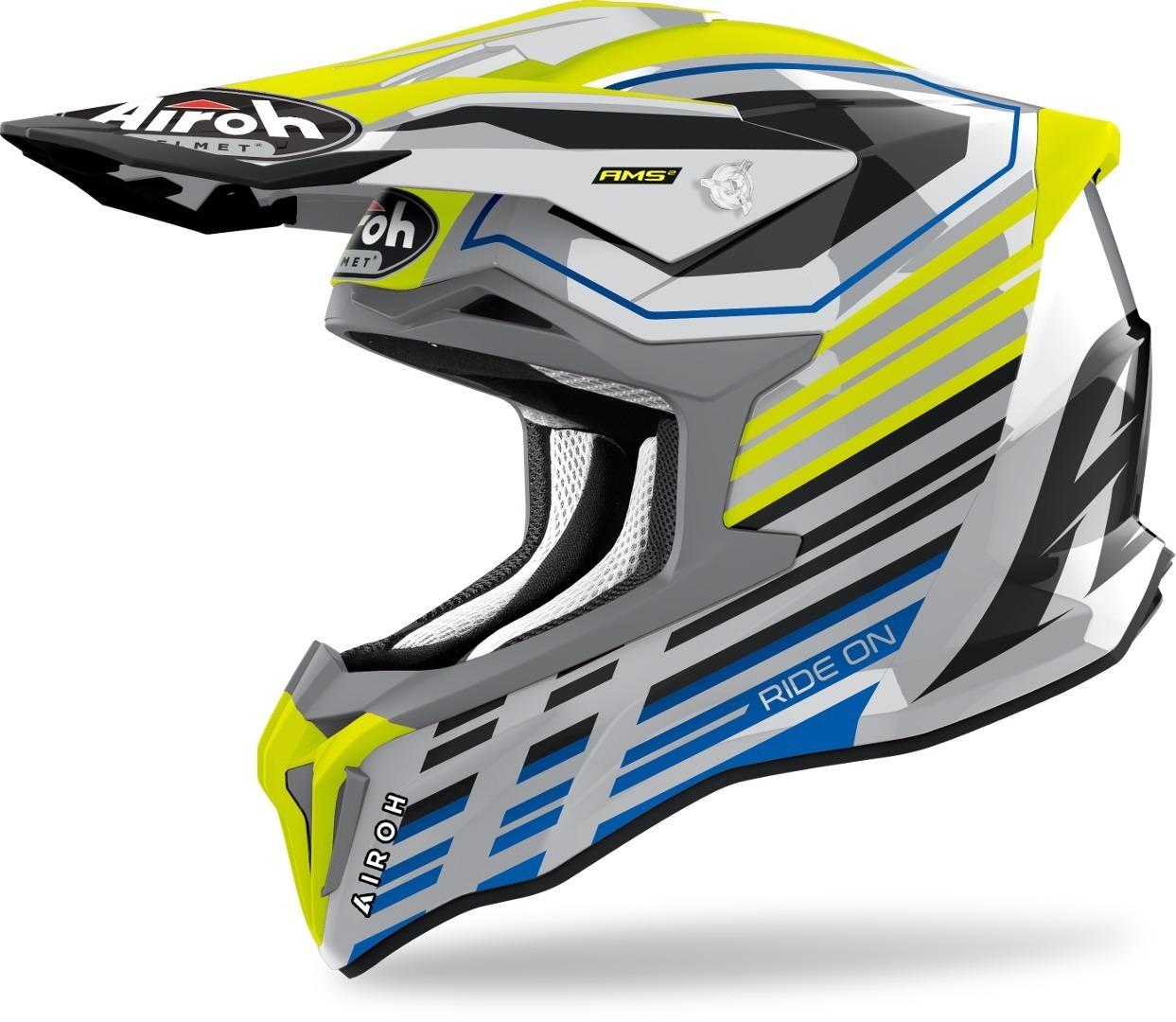 Airoh Strycker Shaded Carbon Motocross Helm, gelb, Größe M, gelb, Größe M