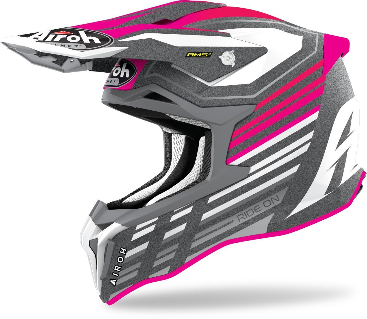 Airoh Strycker Shaded Carbon Motocross Helm, pink, Größe XS, pink, Größe XS