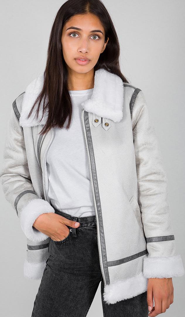 Alpha Industries B3FL Damen Jacke, grau-weiss, Größe S, grau-weiss, Größe S