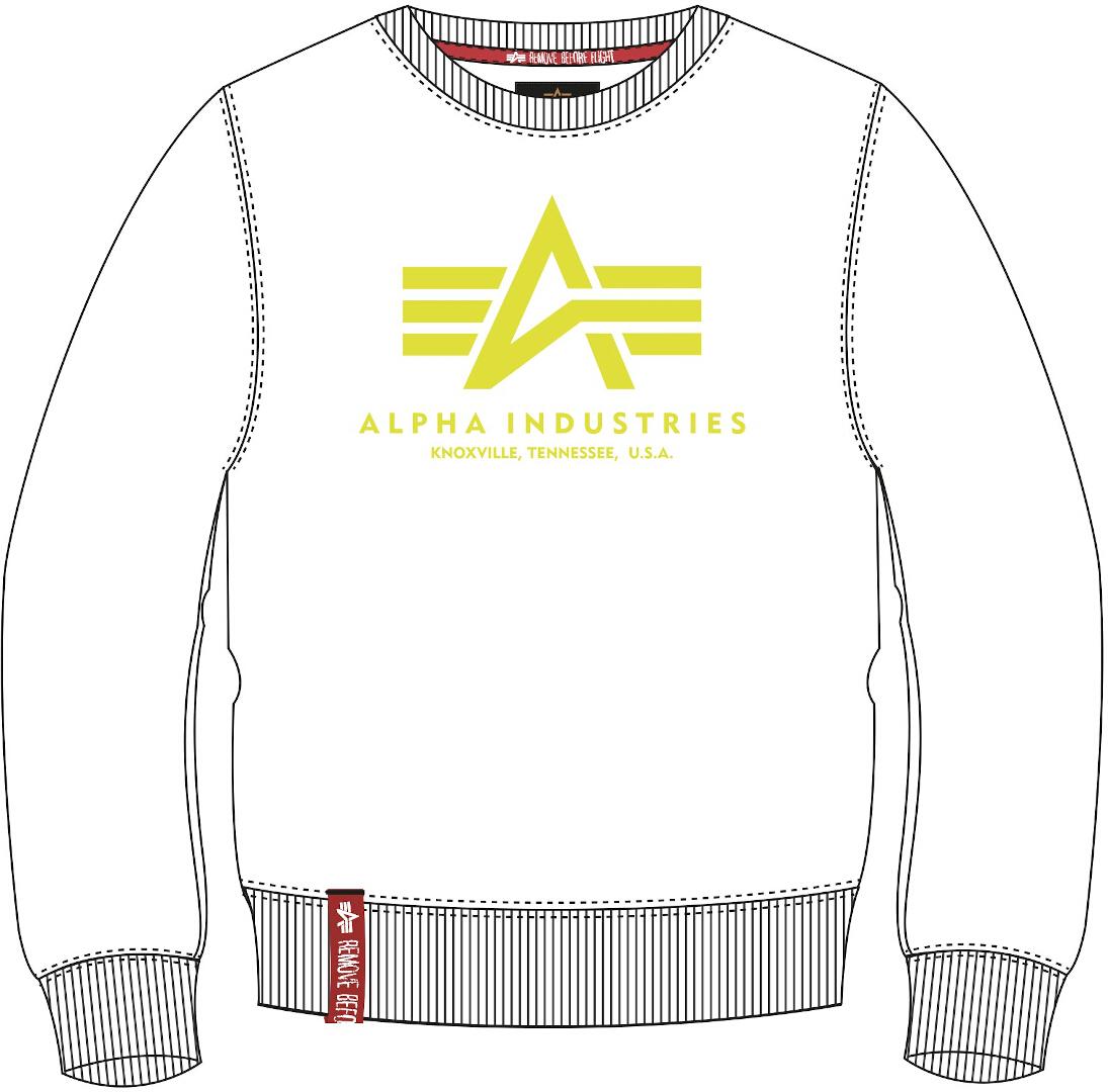 Alpha Industries Basic Neon Print Sweatshirt, weiss-gelb, Größe XS, weiss-gelb, Größe XS