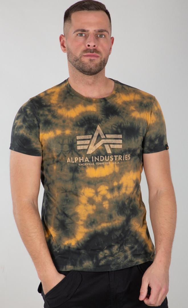 Alpha Industries Batik T-Shirt, grün-braun, Größe 2XL, grün-braun, Größe 2XL