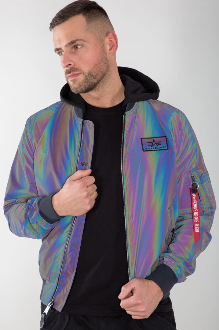 Alpha Industries MA-1 LW HD Rainbow Reflective Jacke, grau, Größe S, grau, Größe S