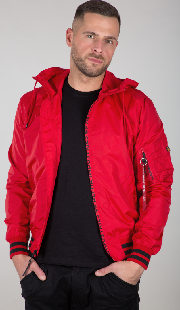 Alpha Industries MA-1 LW Hooded PZ Jacke, rot, Größe XL, rot, Größe XL