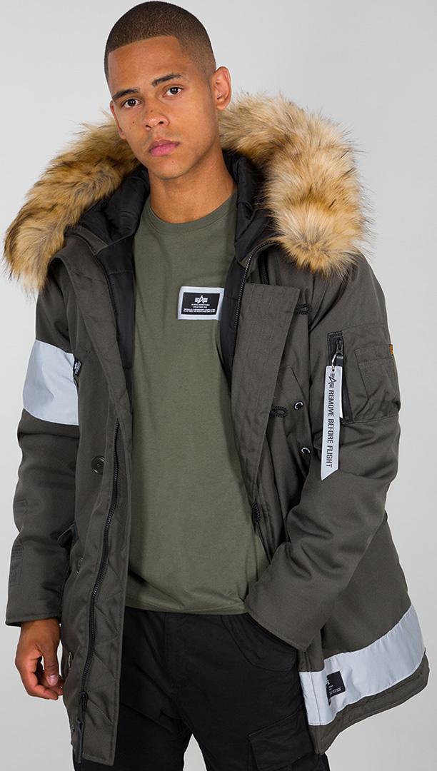 Alpha Industries N-3B Reflective Stripes Jacke, schwarz-grün, Größe L, schwarz-grün, Größe L