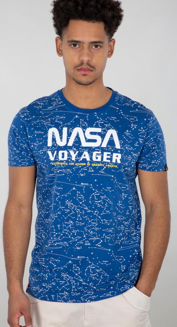 Alpha Industries NASA Voyager AOP T-Shirt, blau, Größe XL, blau, Größe XL