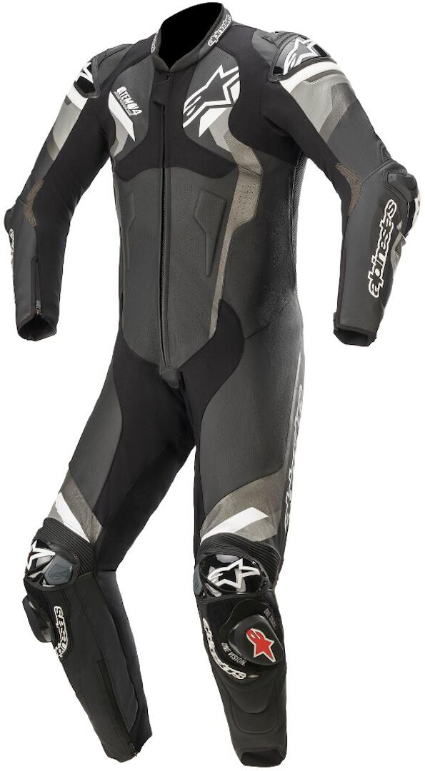 Alpinestars Atem V4 1-Teiler Motorrad Lederkombi, schwarz-grau-weiss, Größe 58, schwarz-grau-weiss, Größe 58