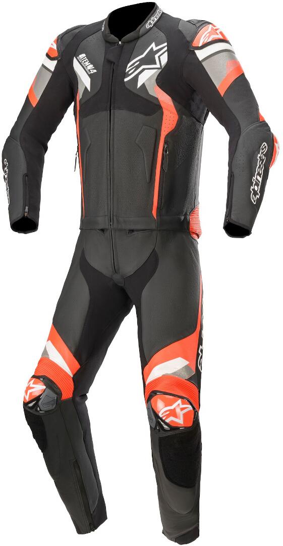 Alpinestars Atem V4 2-Teiler Motorrad Lederkombi, schwarz-grau-rot, Größe 60, schwarz-grau-rot, Größe 60