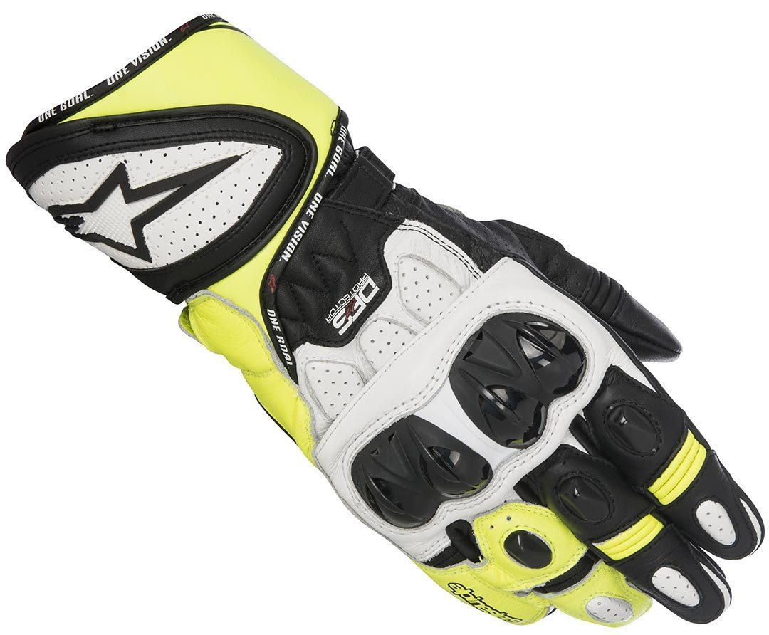Alpinestars GP Plus R Handschuhe, schwarz-weiss-gelb, Größe M, schwarz-weiss-gelb, Größe M