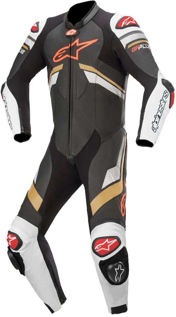 Alpinestars GP Plus V3 1-Teiler Motorrad Lederkombi, schwarz-weiss-gold, Größe 44, schwarz-weiss-gold, Größe 44
