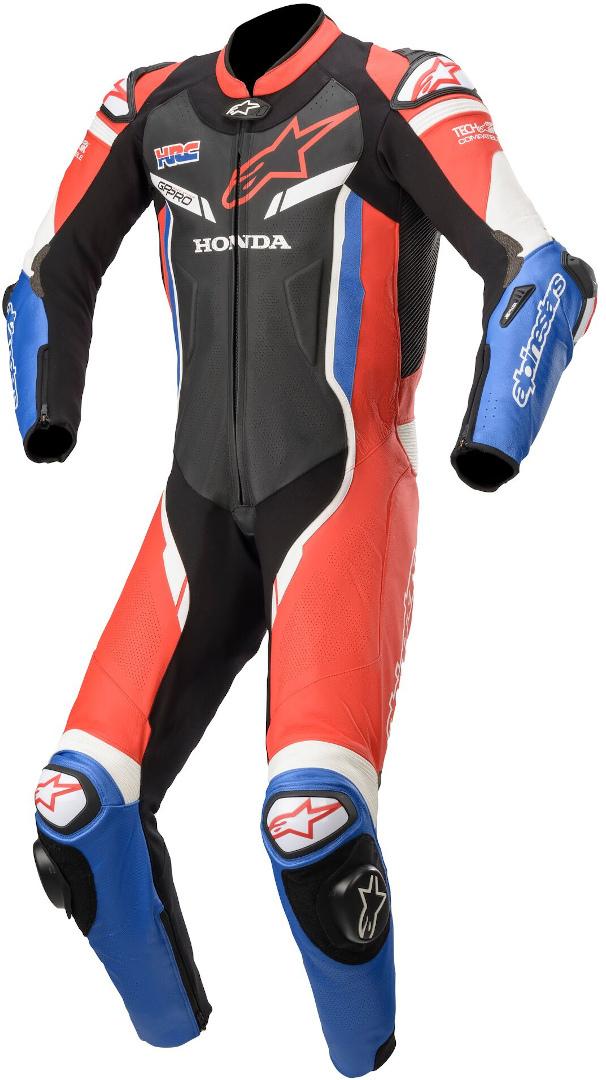 Alpinestars Honda GP Pro V2 1-Teiler Motorrad Lederkombi, schwarz-weiss-rot, Größe 46, schwarz-weiss-rot, Größe 46
