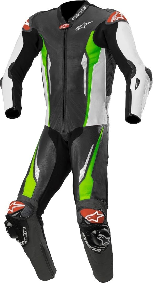 Alpinestars Racing Absolute Tech-Air 1-Teiler Perforierte Motorrad Lederkombi, schwarz-weiss-grün, Größe 46, schwarz-weiss-grün, Größe 46