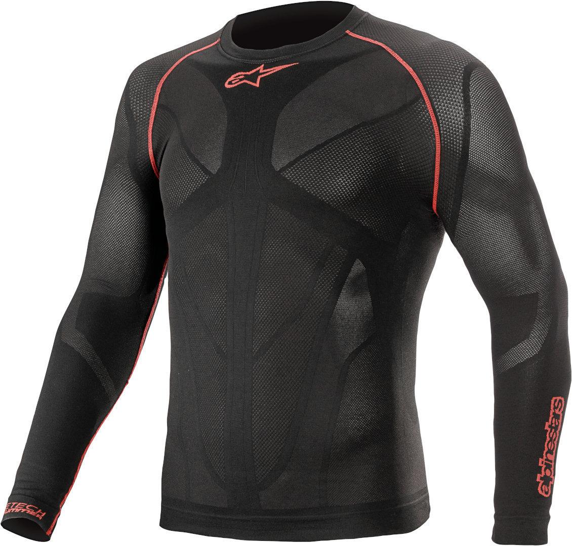 Alpinestars Ride Tech V2 Langarm Funktionsshirt, schwarz-rot, Größe XL 2XL, schwarz-rot, Größe XL 2XL