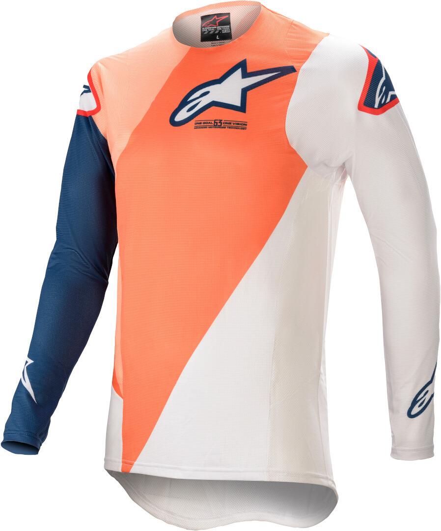 Alpinestars Supertech Blaze Motocross Jersey, weiss-blau-orange, Größe L, weiss-blau-orange, Größe L