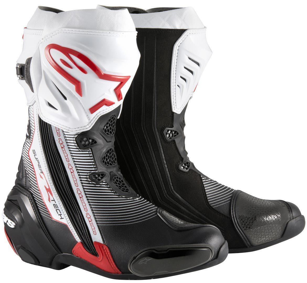 Alpinestars Supertech-R Motorradstiefel, schwarz-weiss-rot, Größe 44, schwarz-weiss-rot, Größe 44