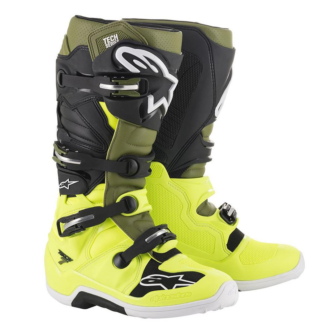 Alpinestars Tech 7 Motocross Stiefel, grün-braun, Größe 49 50, grün-braun, Größe 49 50