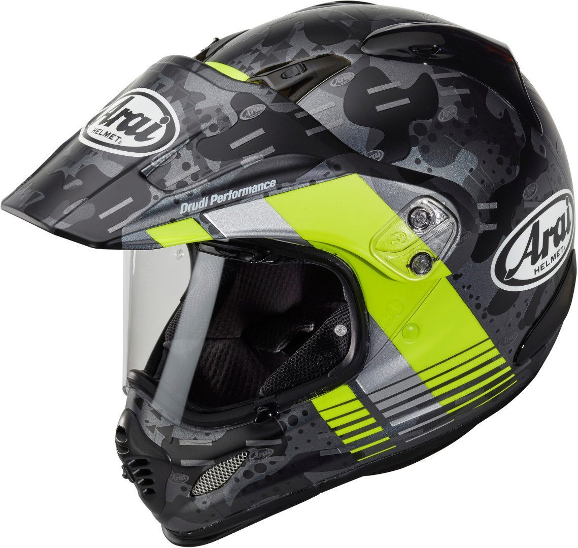 Arai Tour-X4 Cover Motocross Helm, grau-gelb, Größe S, grau-gelb, Größe S