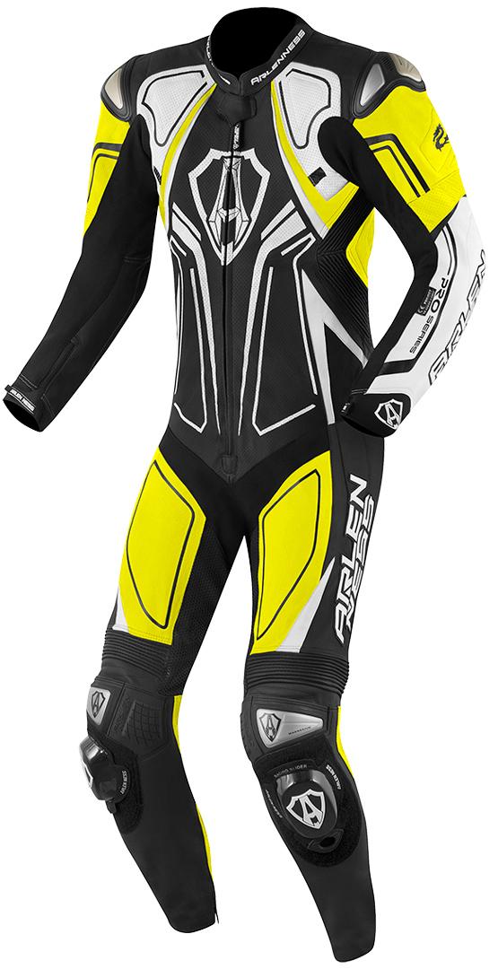 Arlen Ness Conquest 1-Teiler Motorrad Lederkombi, schwarz-weiss-gelb, Größe 50, schwarz-weiss-gelb, Größe 50