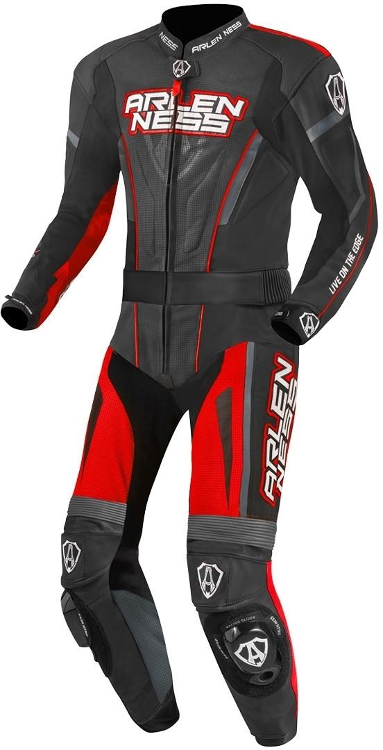 Arlen Ness Edge 2-Teiler Motorrad Lederkombi, schwarz-grau-rot, Größe 50, schwarz-grau-rot, Größe 50