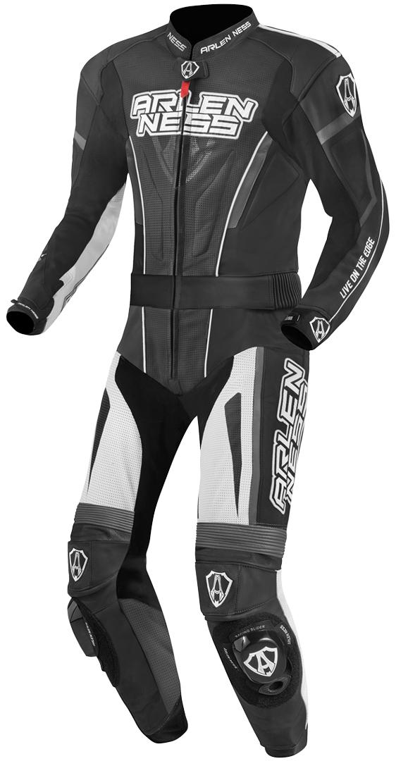 Arlen Ness Edge 2-Teiler Motorrad Lederkombi, schwarz-grau-weiss, Größe 56, schwarz-grau-weiss, Größe 56