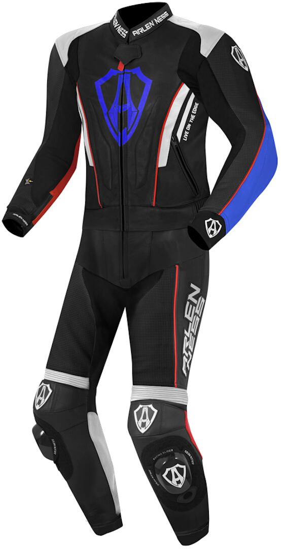 Arlen Ness Losail 2-Teiler Lederkombi, schwarz-weiss-rot-blau, Größe 48, schwarz-weiss-rot-blau, Größe 48