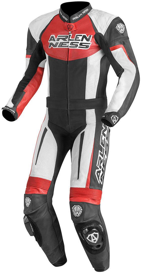 Arlen Ness Monza 2-Teiler Motorrad Lederkombi, schwarz-weiss-rot, Größe 50, schwarz-weiss-rot, Größe 50