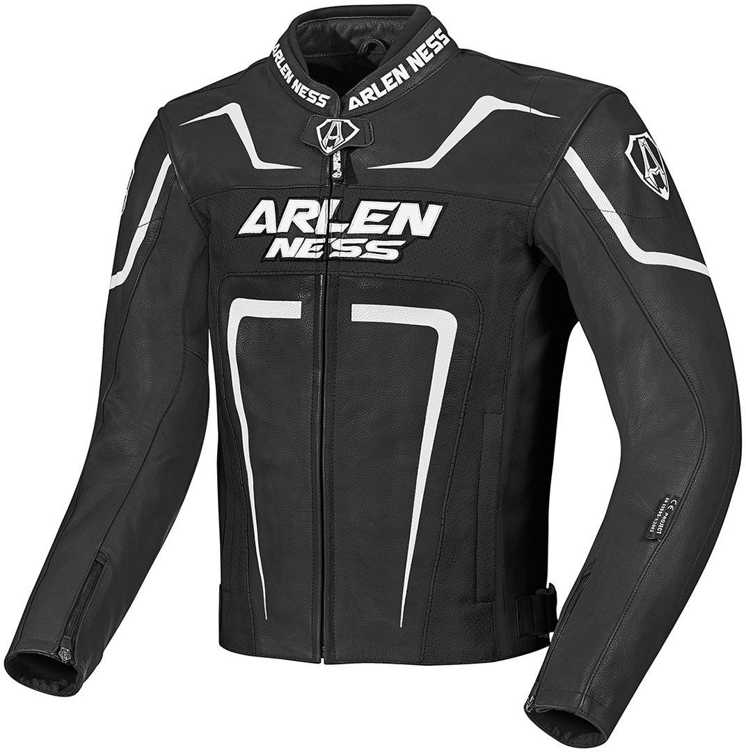 Arlen Ness Motegi Motorrad Lederjacke, schwarz-weiss, Größe 52, schwarz-weiss, Größe 52