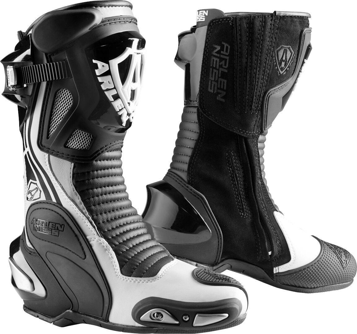 Arlen Ness Pro Shift 2 Motorradstiefel, schwarz-grau-weiss, Größe 40, schwarz-grau-weiss, Größe 40