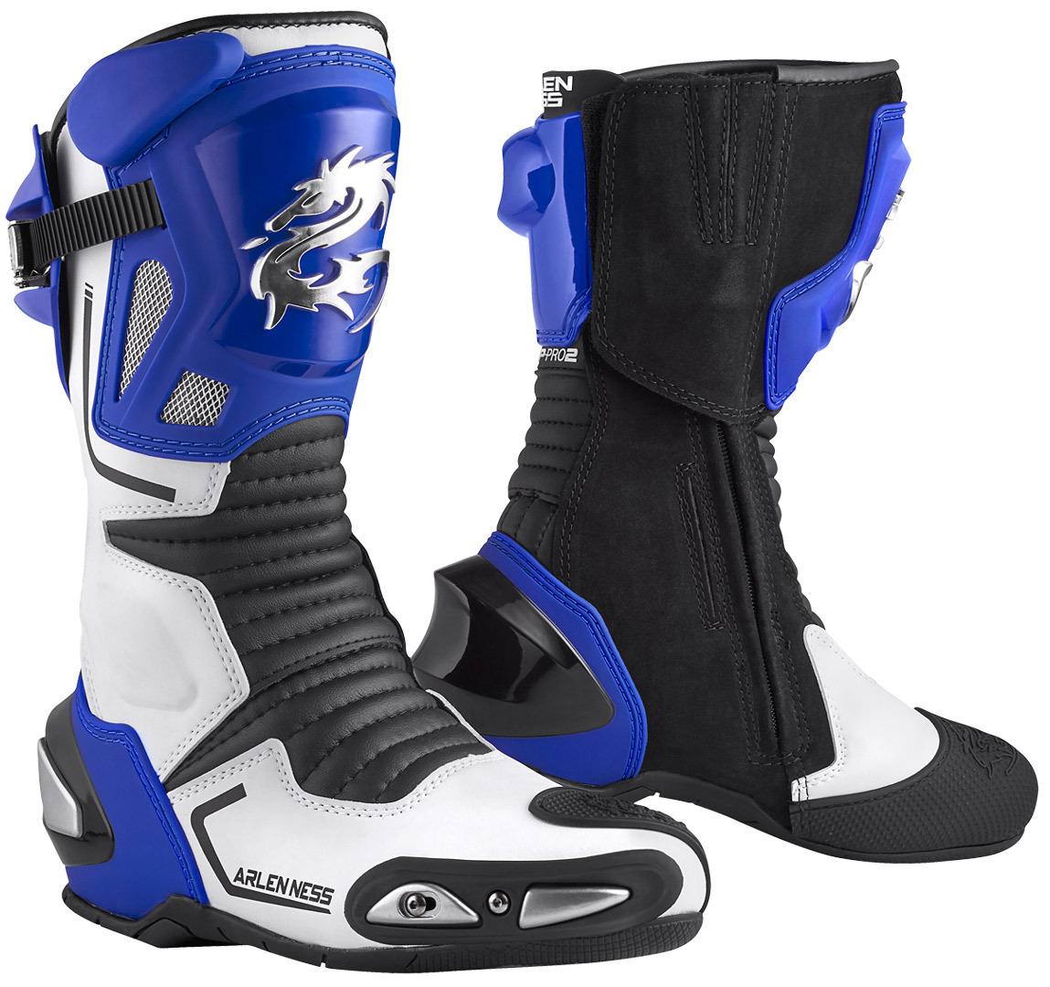 Arlen Ness Sugello Motorradstiefel, schwarz-weiss-blau, Größe 42, schwarz-weiss-blau, Größe 42
