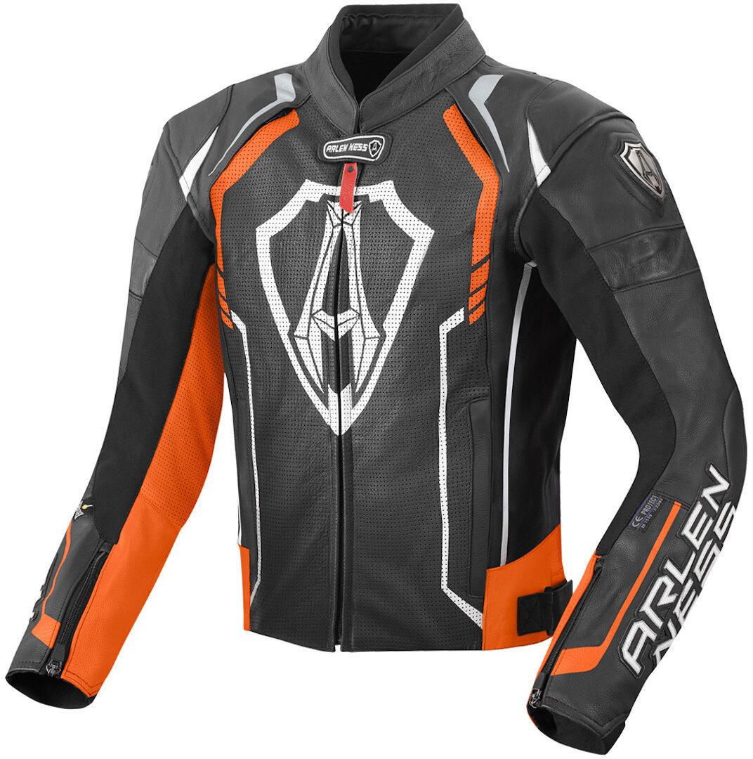 Arlen Ness Track Motorrad Lederjacke, schwarz-orange, Größe 52, schwarz-orange, Größe 52