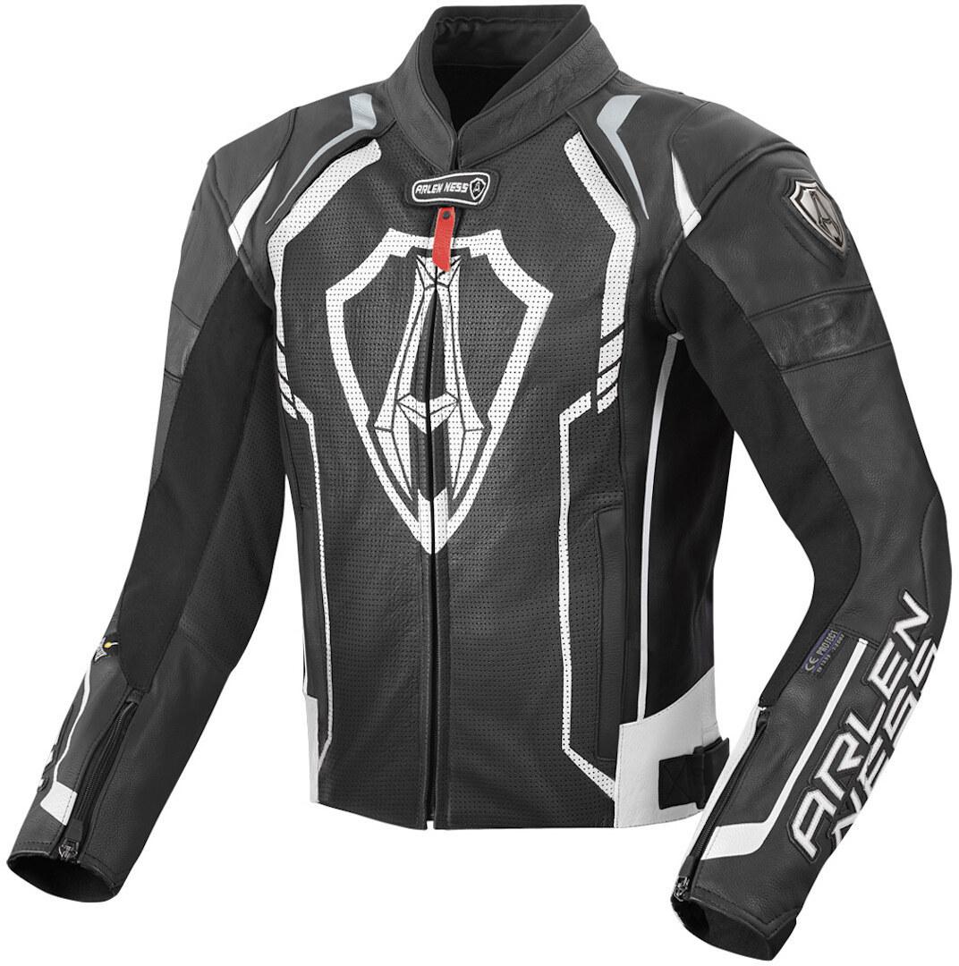 Arlen Ness Track Motorrad Lederjacke, schwarz-weiss, Größe 58, schwarz-weiss, Größe 58