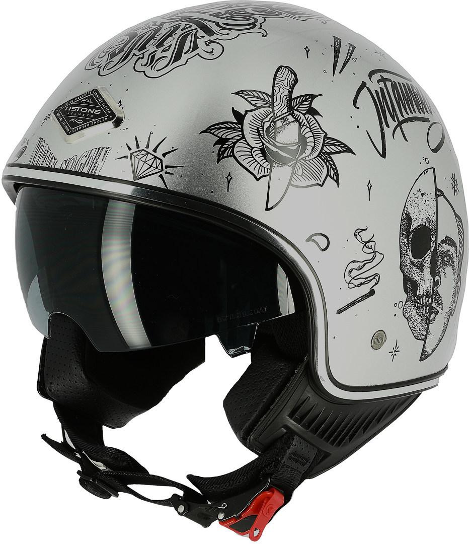 Astone Flash Tattoo Jethelm, silber, Größe XL, silber, Größe XL