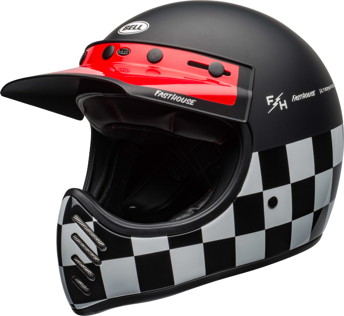 Bell Moto-3 Fasthouse Checkers Trial Helm, schwarz-weiss-rot, Größe M, schwarz-weiss-rot, Größe M