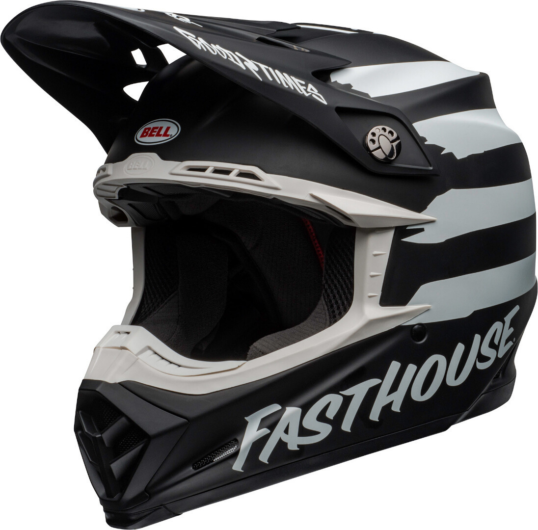 Bell Moto-9 Fasthouse Signia MIPS Motocross Helm, schwarz-weiss, Größe L, schwarz-weiss, Größe L