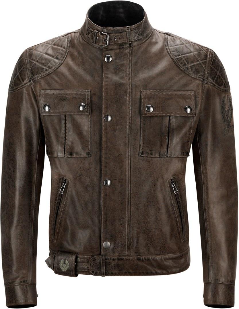 Belstaff Brooklands Motorrad Lederjacke, schwarz-braun, Größe 2XL, schwarz-braun, Größe 2XL