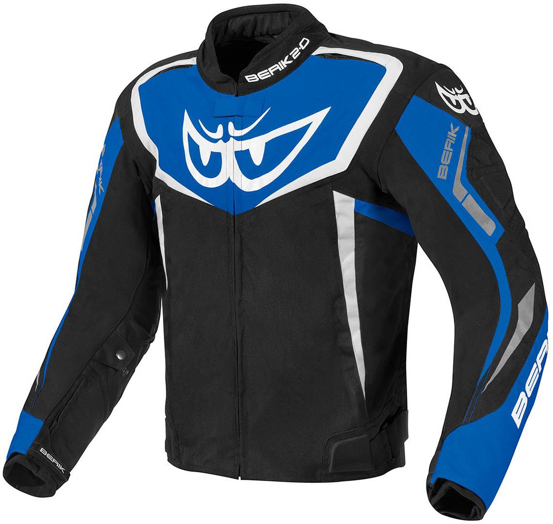 Berik Bad Eye wasserdichte Motorrad Textiljacke, schwarz-weiss-blau, Größe 52, schwarz-weiss-blau, Größe 52