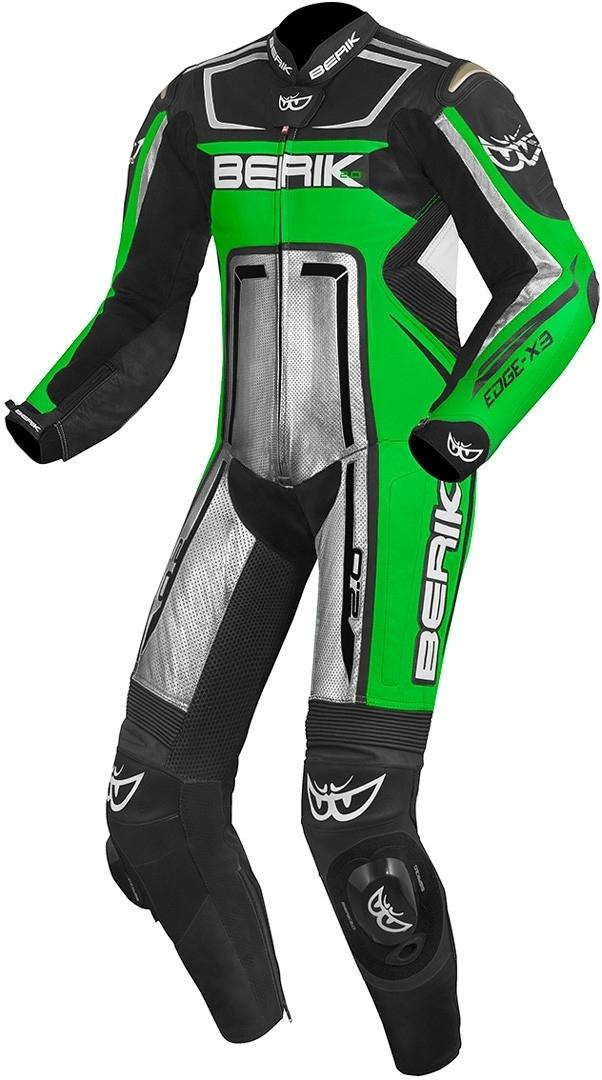 Berik Cosmic 1-Teiler Motorrad Lederkombi, schwarz-weiss-grün, Größe 48, schwarz-weiss-grün, Größe 48