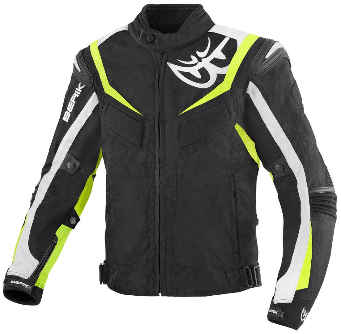 Berik Endurance wasserdichte Motorrad Textiljacke, schwarz-weiss-gelb, Größe 54, schwarz-weiss-gelb, Größe 54